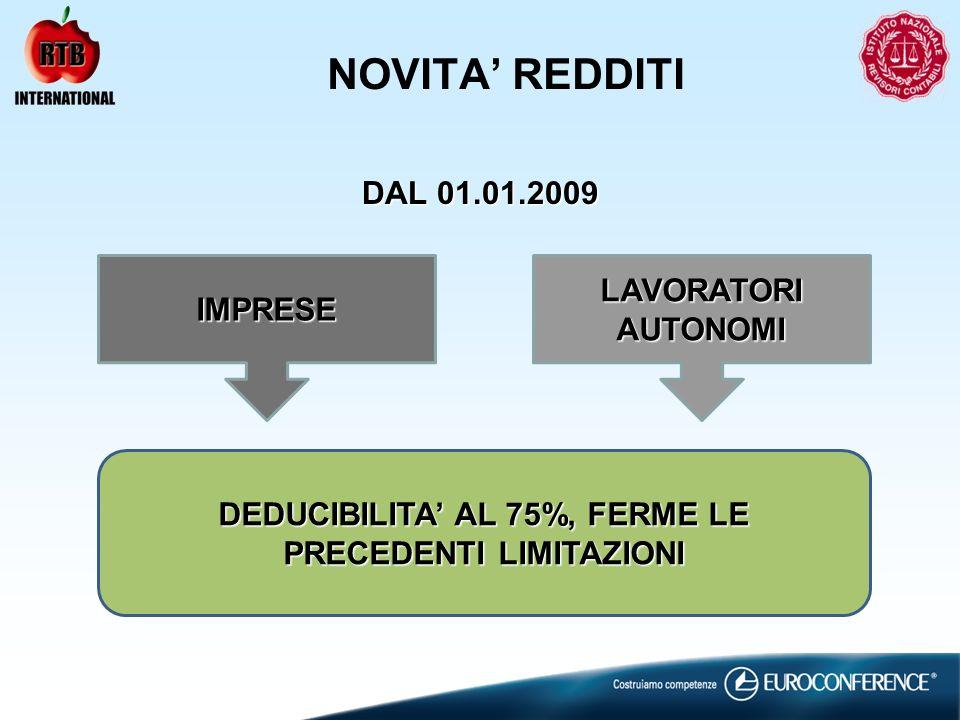 NOVITA REDDITI DAL 01.01.2009 IMPRESE LAVORATORI AUTONOMI DEDUCIBILITA AL 75%, FERME LE PRECEDENTI LIMITAZIONI