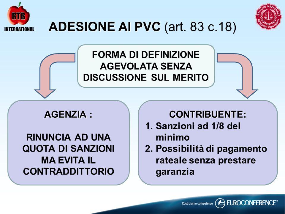 ADESIONE AI PVC ADESIONE AI PVC (art. 83 c.18) FORMA DI DEFINIZIONE AGEVOLATA SENZA DISCUSSIONE SUL MERITO AGENZIA : RINUNCIA AD UNA QUOTA DI SANZIONI