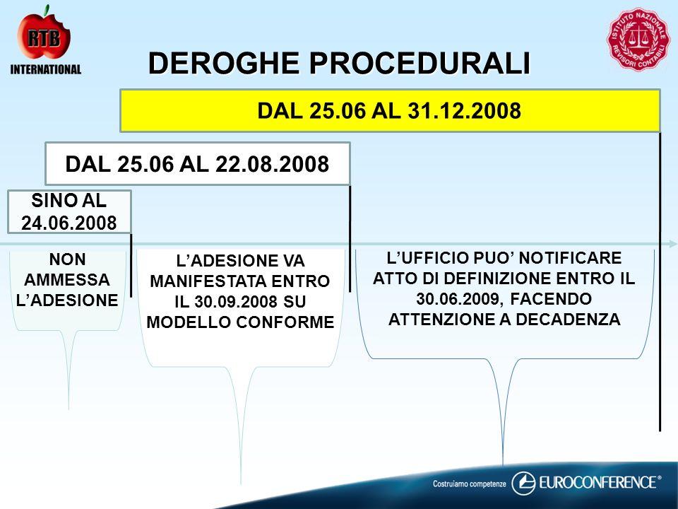 DEROGHE PROCEDURALI SINO AL 24.06.2008 DAL 25.06 AL 22.08.2008 DAL 25.06 AL 31.12.2008 LADESIONE VA MANIFESTATA ENTRO IL 30.09.2008 SU MODELLO CONFORM