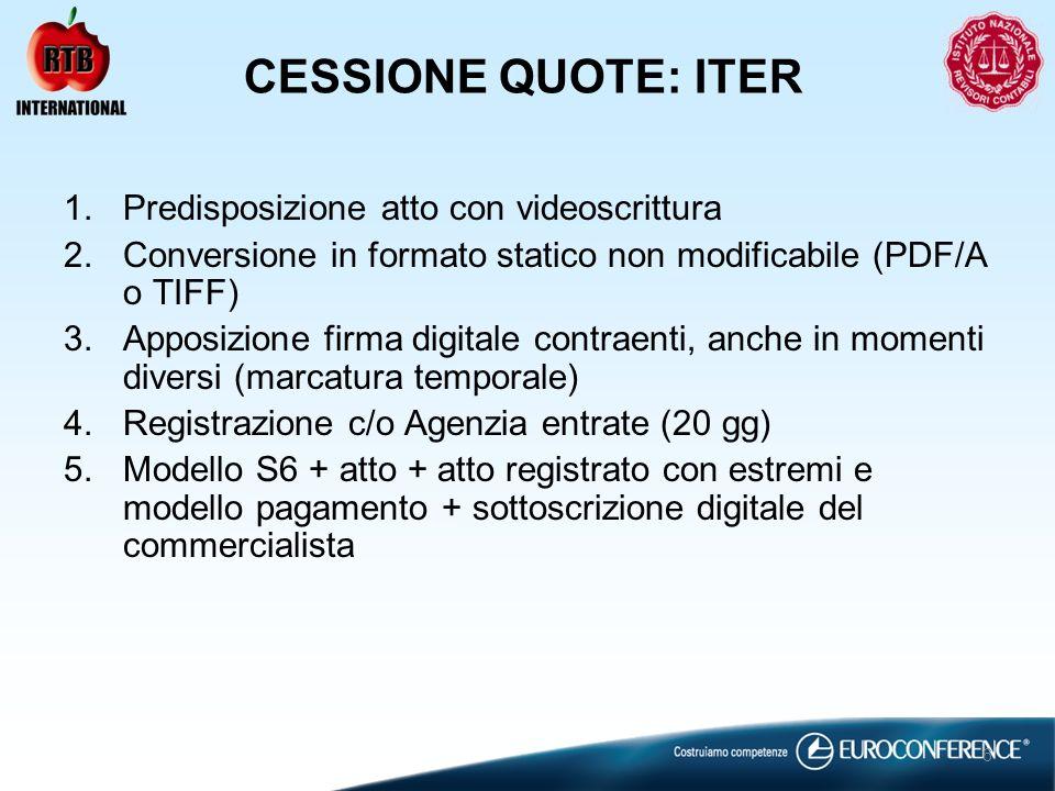 CESSIONE QUOTE: ITER 1.Predisposizione atto con videoscrittura 2.Conversione in formato statico non modificabile (PDF/A o TIFF) 3.Apposizione firma digitale contraenti, anche in momenti diversi (marcatura temporale) 4.Registrazione c/o Agenzia entrate (20 gg) 5.Modello S6 + atto + atto registrato con estremi e modello pagamento + sottoscrizione digitale del commercialista 6