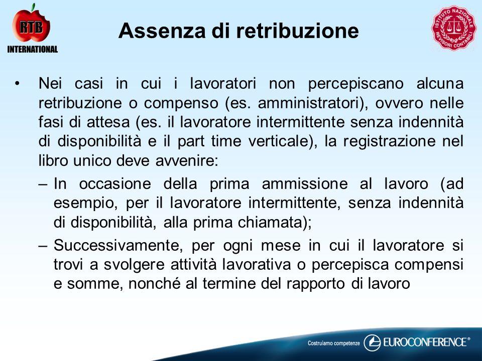 Assenza di retribuzione Nei casi in cui i lavoratori non percepiscano alcuna retribuzione o compenso (es.