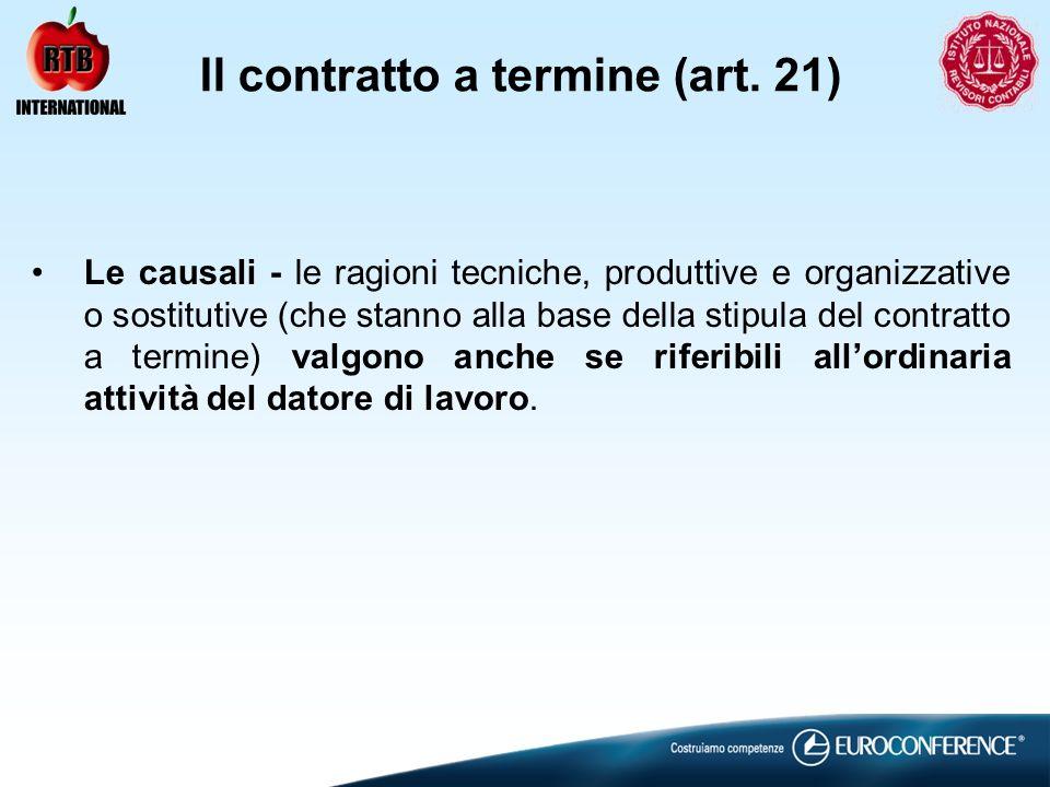 Il contratto a termine (art. 21) Le causali - le ragioni tecniche, produttive e organizzative o sostitutive (che stanno alla base della stipula del co