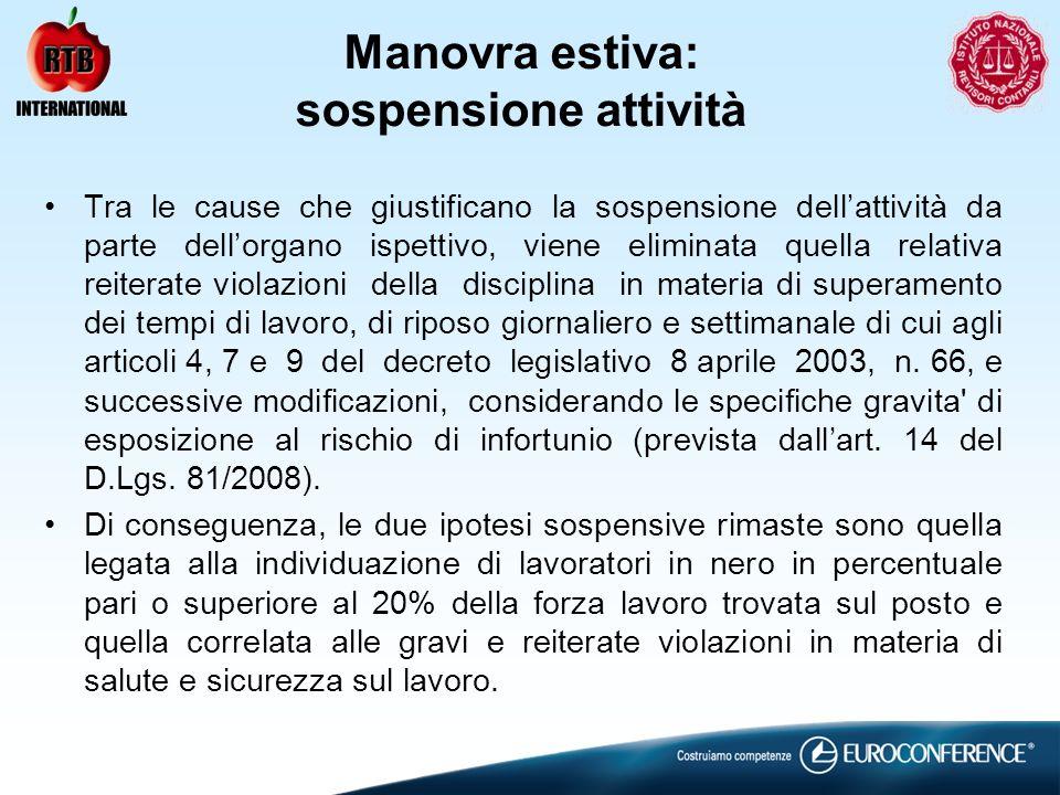Manovra estiva: sospensione attività Tra le cause che giustificano la sospensione dellattività da parte dellorgano ispettivo, viene eliminata quella r