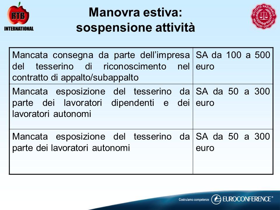 Manovra estiva: sospensione attività Mancata consegna da parte dellimpresa del tesserino di riconoscimento nel contratto di appalto/subappalto SA da 1