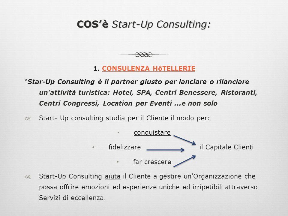 COSè Start-Up Consulting: 1. CONSULENZA HôTELLERIE Star-Up Consulting è il partner giusto per lanciare o rilanciare unattività turistica: Hotel, SPA,