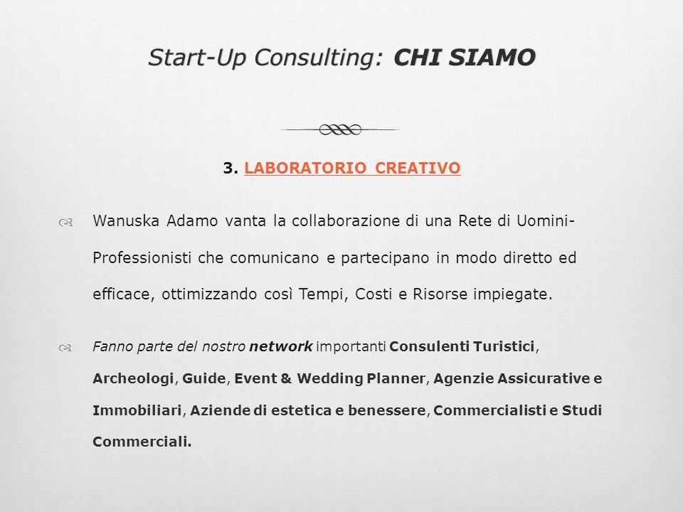 Start-Up Consulting: CHI SIAMOStart-Up Consulting: CHI SIAMO 3. LABORATORIO CREATIVO Wanuska Adamo vanta la collaborazione di una Rete di Uomini- Prof