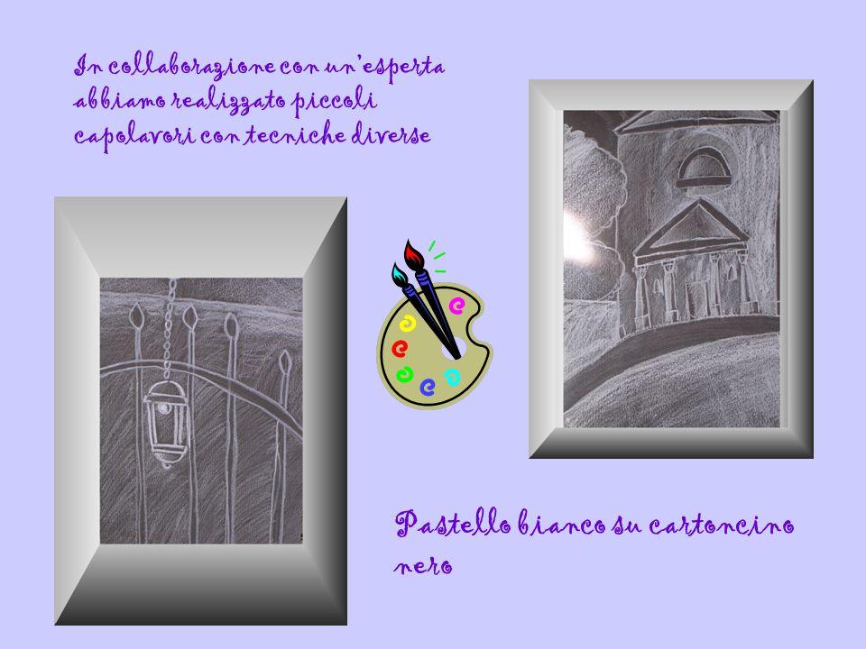 In collaborazione con unesperta abbiamo realizzato piccoli capolavori con tecniche diverse Pastello bianco su cartoncino nero