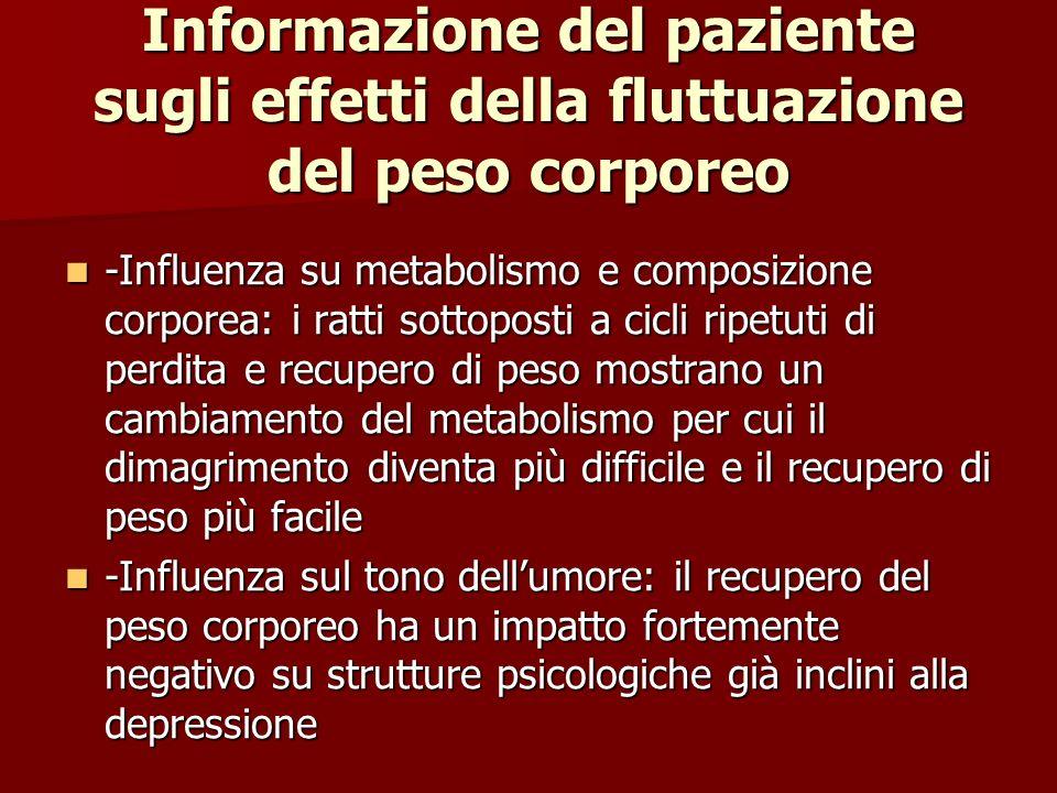 Informazione del paziente sugli effetti della fluttuazione del peso corporeo -Influenza su metabolismo e composizione corporea: i ratti sottoposti a c