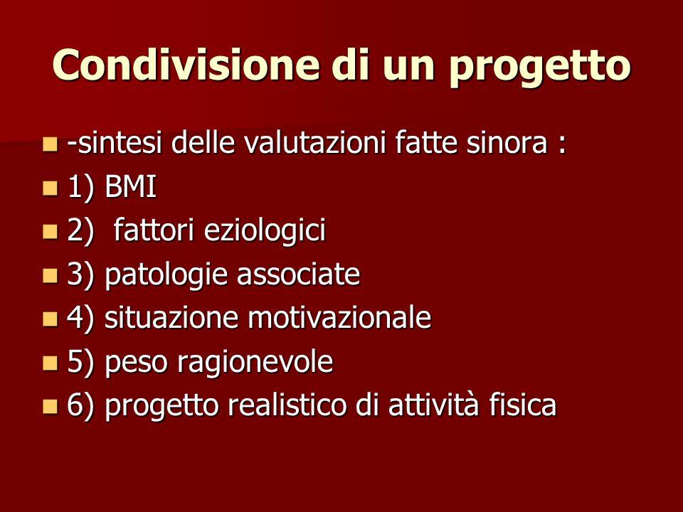 Condivisione di un progetto -sintesi delle valutazioni fatte sinora : -sintesi delle valutazioni fatte sinora : 1) BMI 1) BMI 2) fattori eziologici 2)