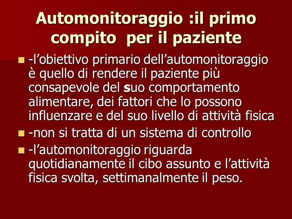 Automonitoraggio :il primo compito per il paziente -lobiettivo primario dellautomonitoraggio è quello di rendere il paziente più consapevole del suo c