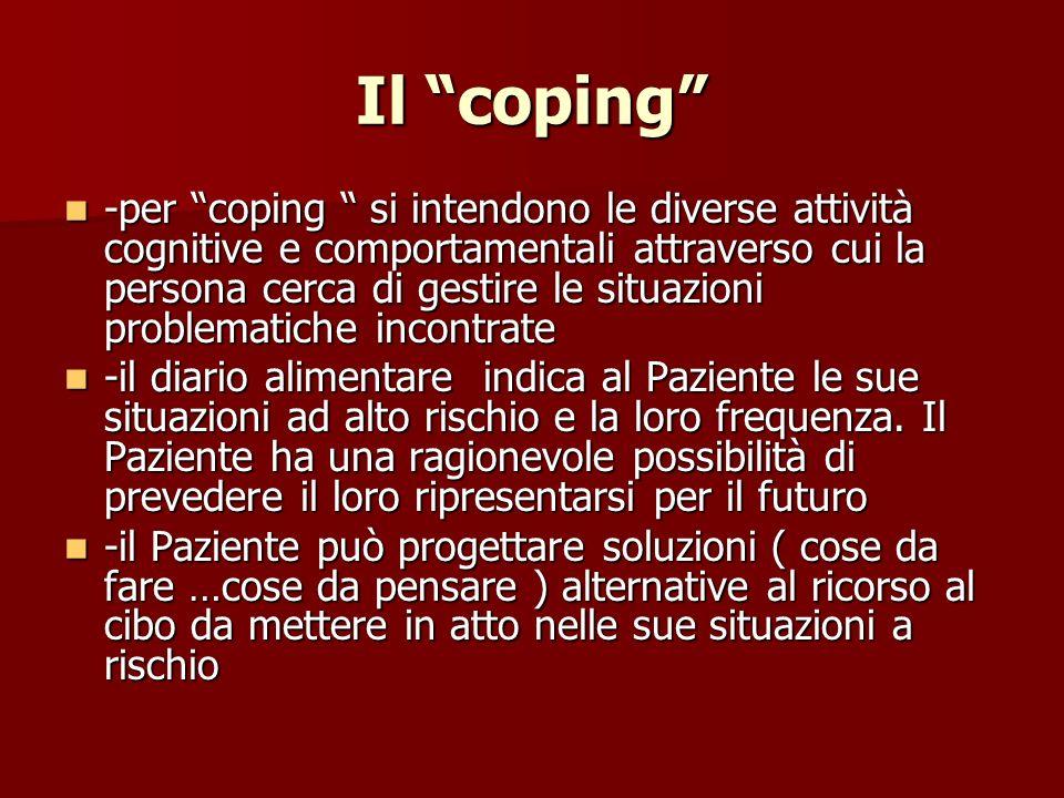 Il coping -per coping si intendono le diverse attività cognitive e comportamentali attraverso cui la persona cerca di gestire le situazioni problemati