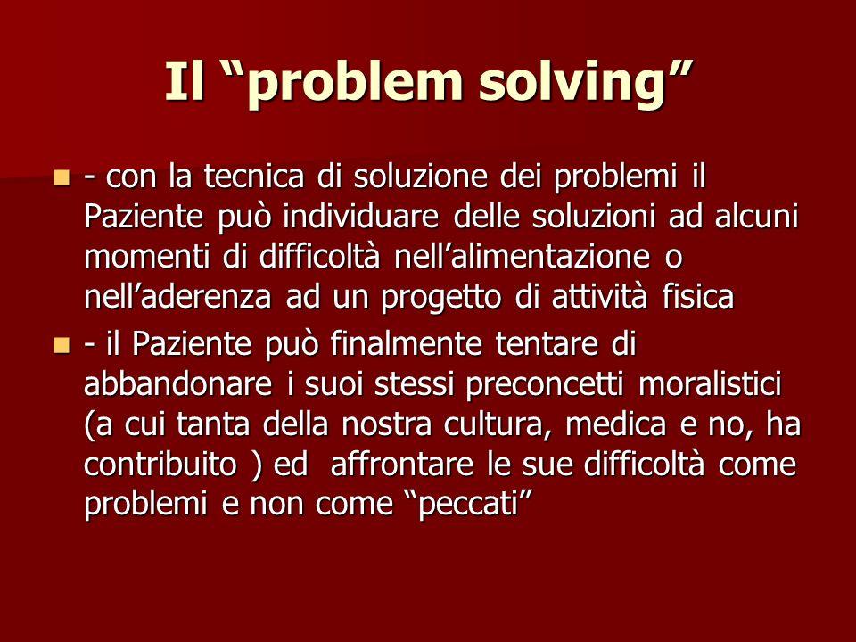 Il problem solving - con la tecnica di soluzione dei problemi il Paziente può individuare delle soluzioni ad alcuni momenti di difficoltà nellalimenta