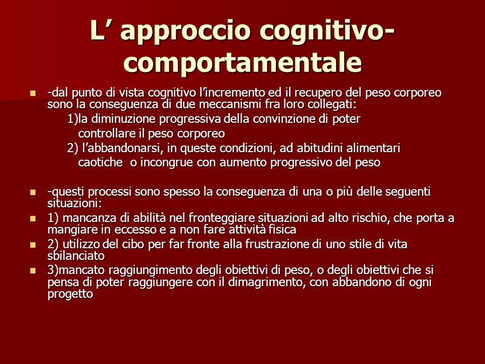 L approccio cognitivo- comportamentale -dal punto di vista cognitivo lincremento ed il recupero del peso corporeo sono la conseguenza di due meccanism