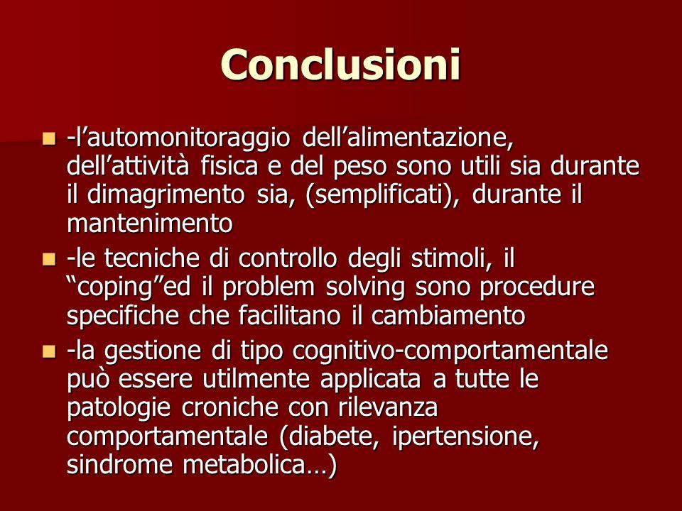 Conclusioni -lautomonitoraggio dellalimentazione, dellattività fisica e del peso sono utili sia durante il dimagrimento sia, (semplificati), durante i