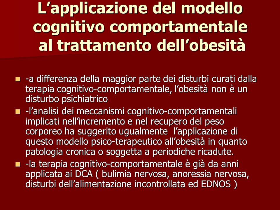 Lapplicazione del modello cognitivo comportamentale al trattamento dellobesità -a differenza della maggior parte dei disturbi curati dalla terapia cog