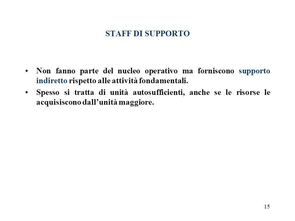 15 STAFF DI SUPPORTO Non fanno parte del nucleo operativo ma forniscono supporto indiretto rispetto alle attività fondamentali. Spesso si tratta di un