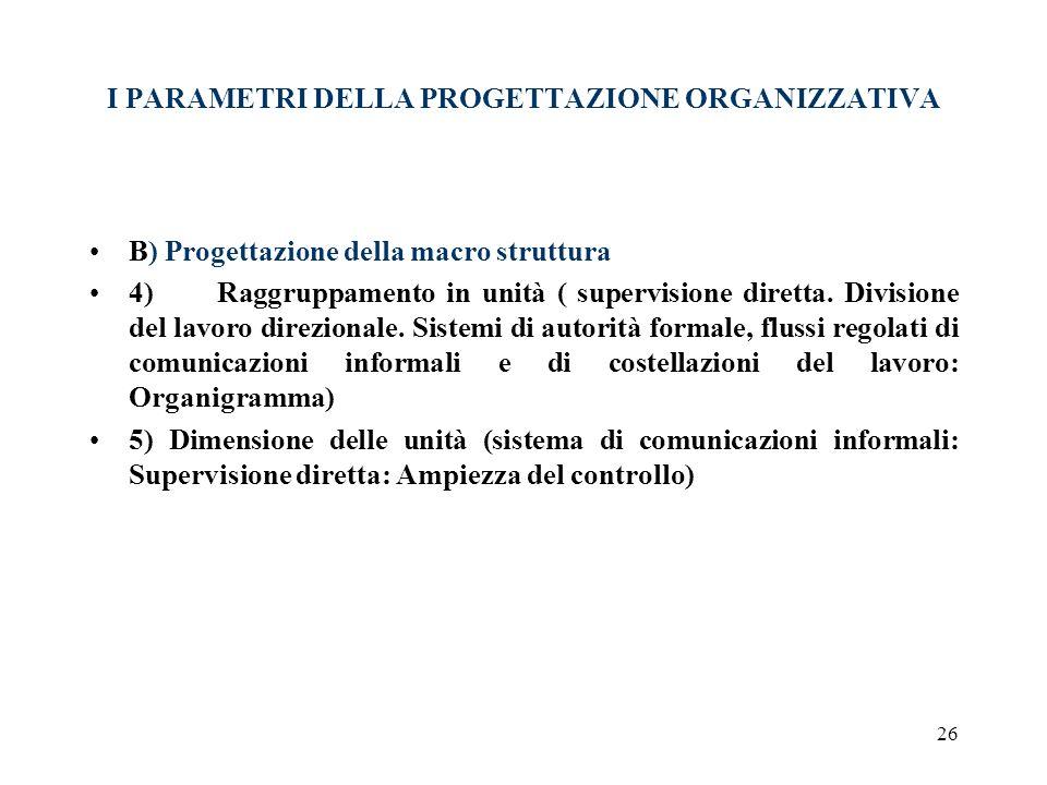 26 I PARAMETRI DELLA PROGETTAZIONE ORGANIZZATIVA B) Progettazione della macro struttura 4) Raggruppamento in unità ( supervisione diretta. Divisione d
