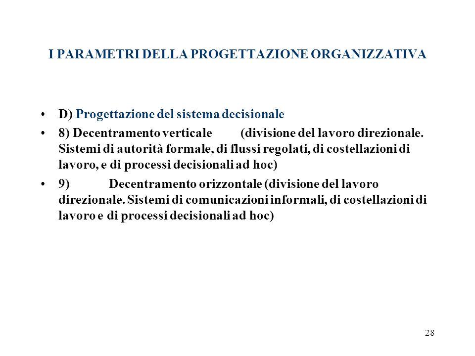 28 I PARAMETRI DELLA PROGETTAZIONE ORGANIZZATIVA D) Progettazione del sistema decisionale 8) Decentramento verticale (divisione del lavoro direzionale