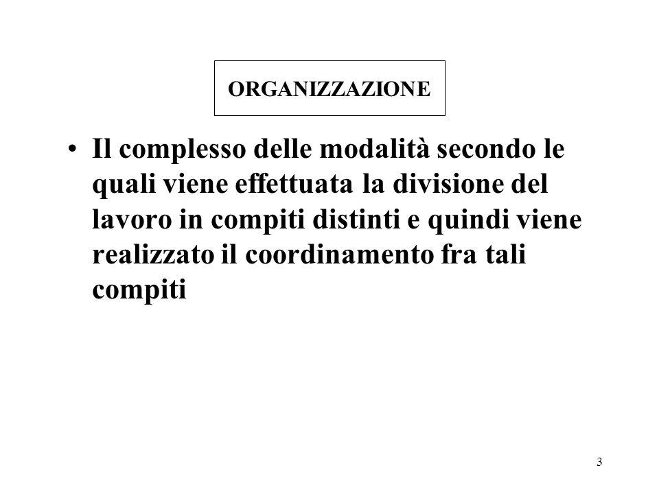 3 ORGANIZZAZIONE Il complesso delle modalità secondo le quali viene effettuata la divisione del lavoro in compiti distinti e quindi viene realizzato i