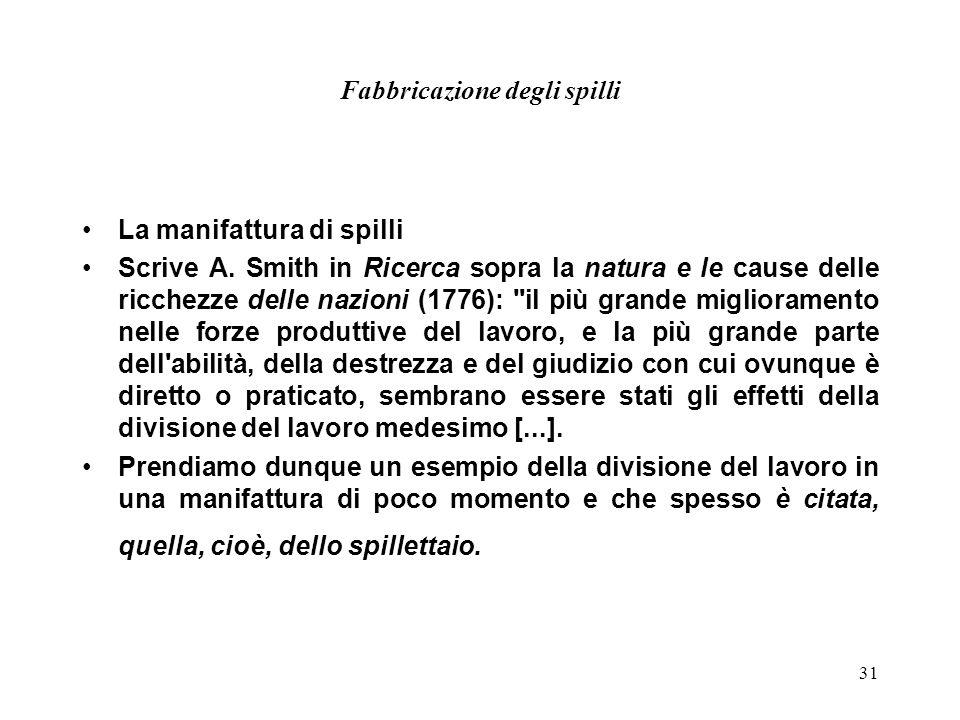 31 Fabbricazione degli spilli La manifattura di spilli Scrive A. Smith in Ricerca sopra la natura e le cause delle ricchezze delle nazioni (1776):