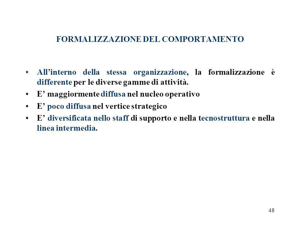 48 FORMALIZZAZIONE DEL COMPORTAMENTO Allinterno della stessa organizzazione, la formalizzazione è differente per le diverse gamme di attività. E maggi