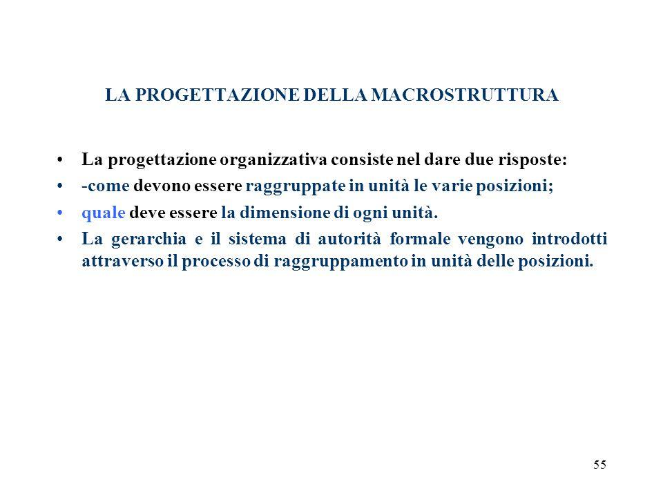 55 LA PROGETTAZIONE DELLA MACROSTRUTTURA La progettazione organizzativa consiste nel dare due risposte: -come devono essere raggruppate in unità le va
