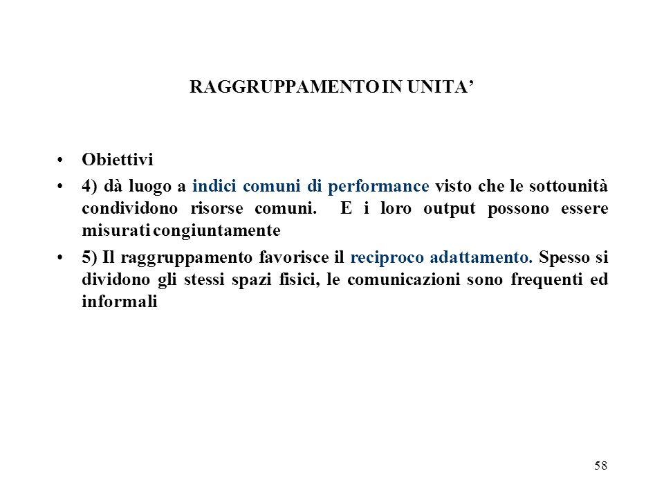 58 RAGGRUPPAMENTO IN UNITA Obiettivi 4) dà luogo a indici comuni di performance visto che le sottounità condividono risorse comuni. E i loro output po