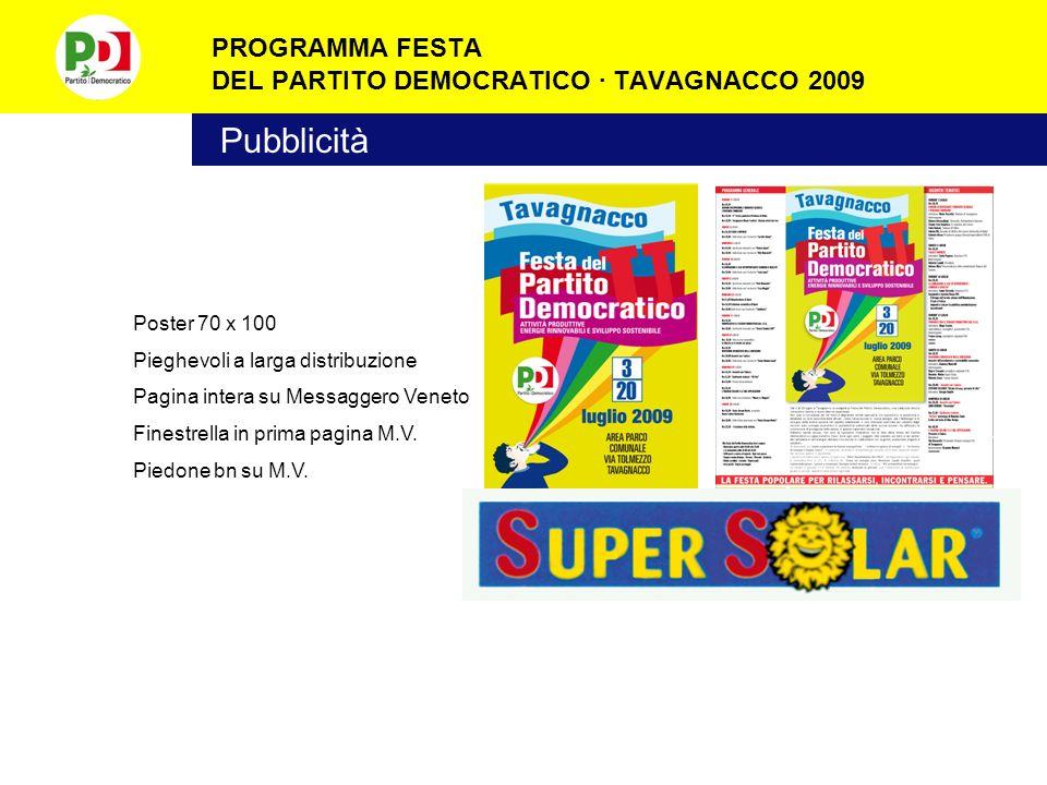 PROGRAMMA FESTA DEL PARTITO DEMOCRATICO · TAVAGNACCO 2009