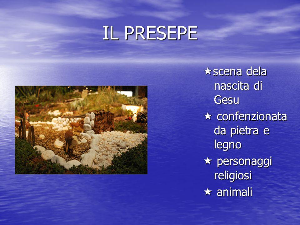 IL PRESEPE scena dela nascita di Gesu scena dela nascita di Gesu confenzionata da pietra e legno confenzionata da pietra e legno personaggi religiosi personaggi religiosi animali animali