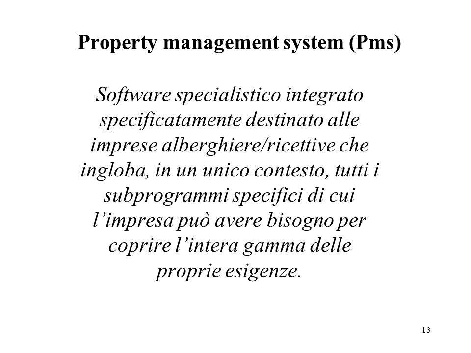 13 Property management system (Pms) Software specialistico integrato specificatamente destinato alle imprese alberghiere/ricettive che ingloba, in un unico contesto, tutti i subprogrammi specifici di cui limpresa può avere bisogno per coprire lintera gamma delle proprie esigenze.