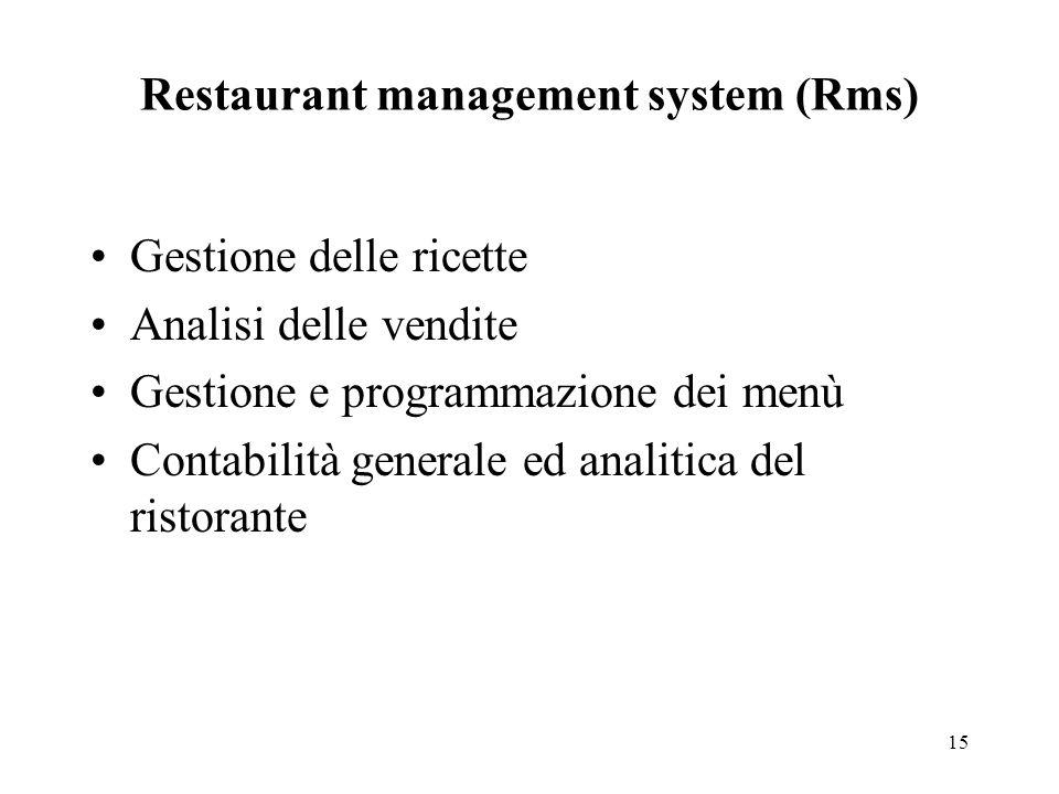 15 Restaurant management system (Rms) Gestione delle ricette Analisi delle vendite Gestione e programmazione dei menù Contabilità generale ed analitica del ristorante