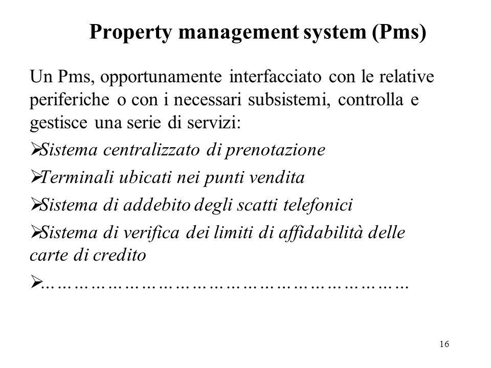 16 Property management system (Pms) Un Pms, opportunamente interfacciato con le relative periferiche o con i necessari subsistemi, controlla e gestisc