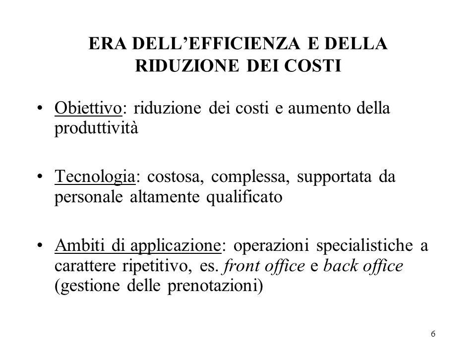 6 ERA DELLEFFICIENZA E DELLA RIDUZIONE DEI COSTI Obiettivo: riduzione dei costi e aumento della produttività Tecnologia: costosa, complessa, supportat