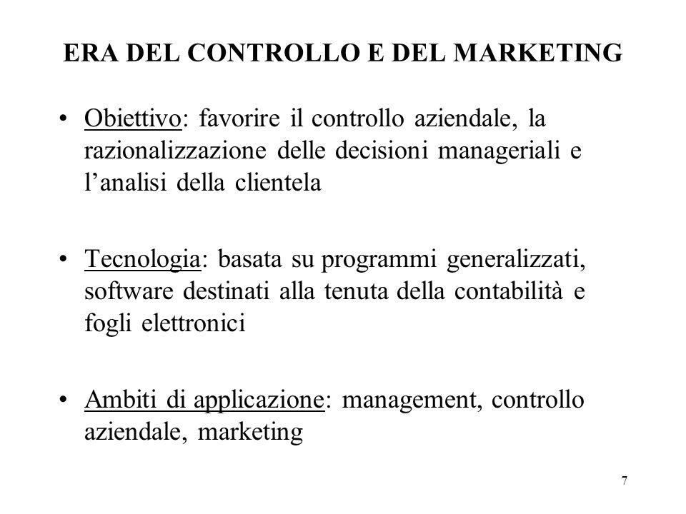 7 ERA DEL CONTROLLO E DEL MARKETING Obiettivo: favorire il controllo aziendale, la razionalizzazione delle decisioni manageriali e lanalisi della clie