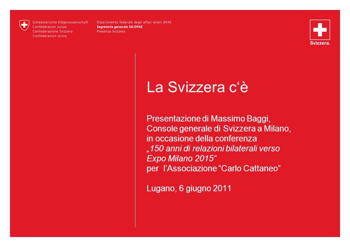 12 Relazioni bilaterali Vicinanza culturale La Svizzera è praticamente il solo paese di lingua italiana al di fuori dellItalia stessa Importante minoranza italofona in Svizzera Importante comunità italiana in Svizzera