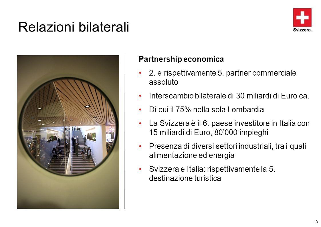 13 Relazioni bilaterali Partnership economica 2. e rispettivamente 5. partner commerciale assoluto Interscambio bilaterale di 30 miliardi di Euro ca.
