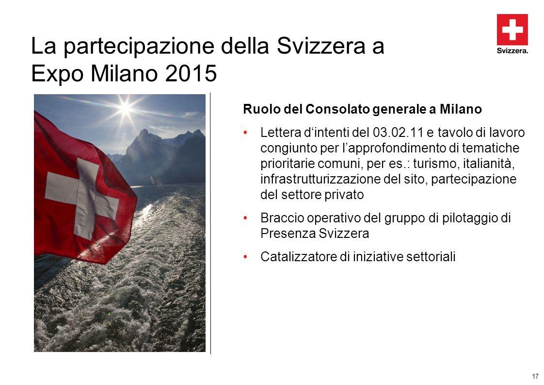 17 La partecipazione della Svizzera a Expo Milano 2015 Ruolo del Consolato generale a Milano Lettera dintenti del 03.02.11 e tavolo di lavoro congiunt