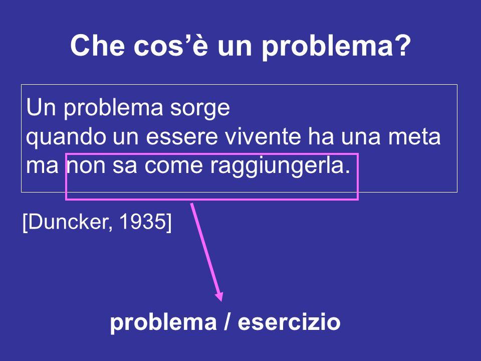 Che cosè un problema? Un problema sorge quando un essere vivente ha una meta ma non sa come raggiungerla. problema / esercizio [Duncker, 1935]