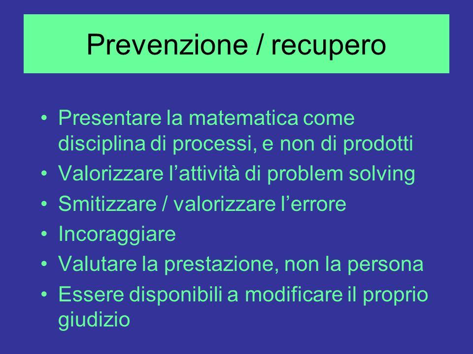 Prevenzione / recupero Presentare la matematica come disciplina di processi, e non di prodotti Valorizzare lattività di problem solving Smitizzare / v