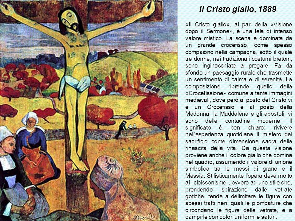 Il Cristo giallo, 1889 «Il Cristo giallo», al pari della «Visione dopo il Sermone», è una tela di intenso valore mistico. La scena è dominata da un gr