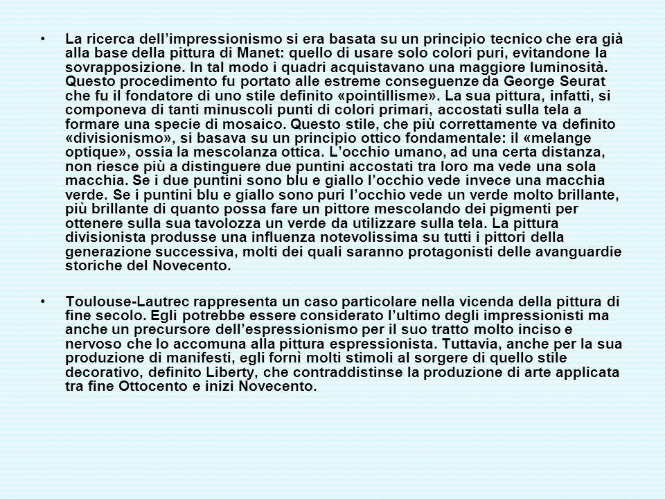 Le modelle (versione grande), 1887-88 Composizione molto ricca di elementi, si caratterizza per le tre donne nude colte nellangolo di una stanza, piena di vestiti e accessori, alla cui parete di sinistra compare un angolo della grande tela di Seurat «Una domenica pomeriggio alla Grande Jatte».