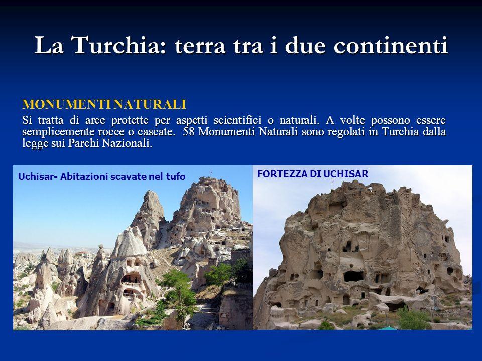 La Turchia: terra tra i due continenti MONUMENTI NATURALI Si tratta di aree protette per aspetti scientifici o naturali. A volte possono essere sempli