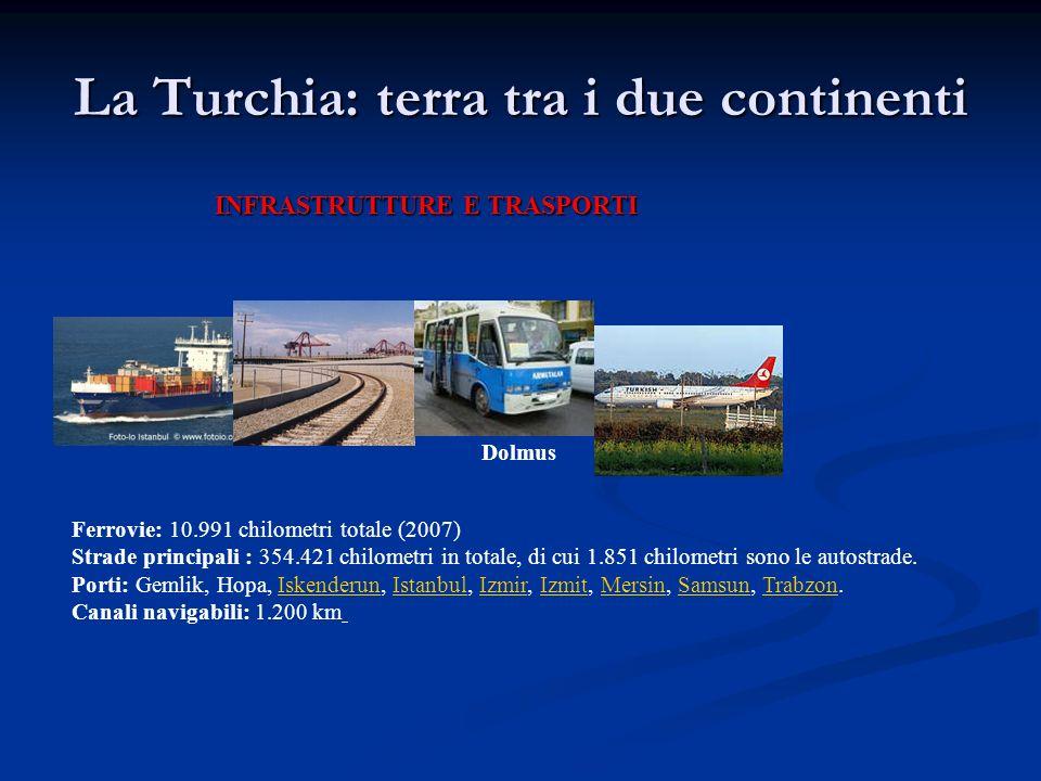 La Turchia: terra tra i due continenti INFRASTRUTTURE E TRASPORTI Ferrovie: 10.991 chilometri totale (2007) Strade principali : 354.421 chilometri in