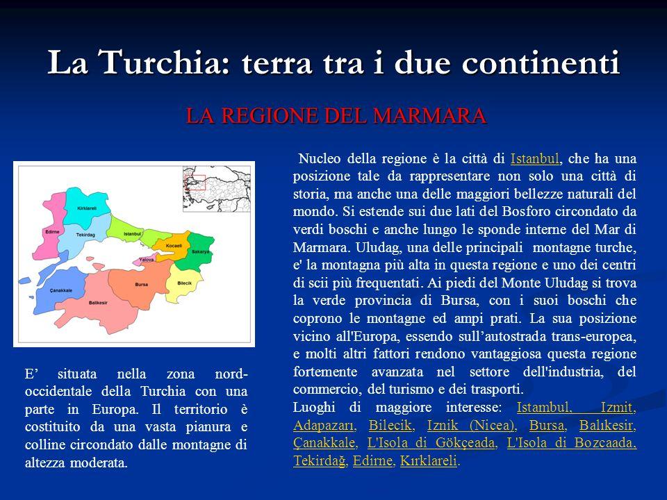 La Turchia: terra tra i due continenti LA REGIONE DEL MARMARA Nucleo della regione è la città di Istanbul, che ha una posizione tale da rappresentare