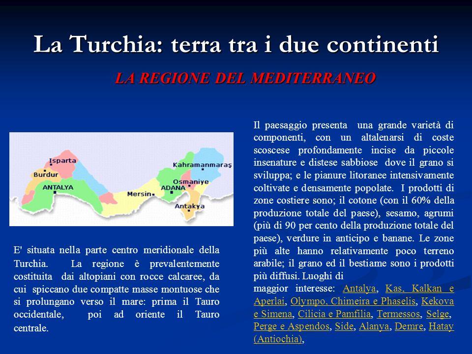 La Turchia: terra tra i due continenti LA REGIONE DEL MEDITERRANEO E' situata nella parte centro meridionale della Turchia. La regione è prevalentemen