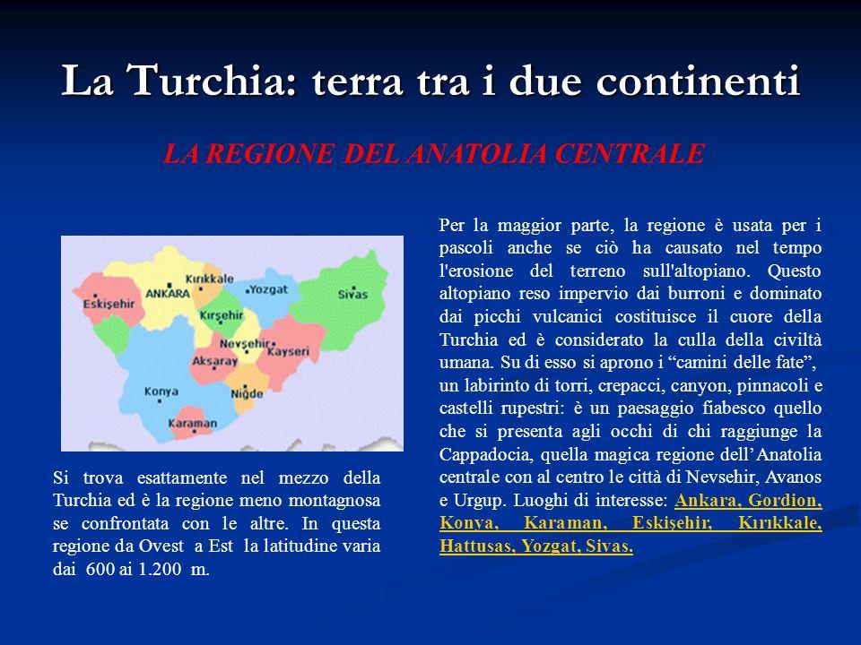 La Turchia: terra tra i due continenti LA REGIONE DEL ANATOLIA CENTRALE Si trova esattamente nel mezzo della Turchia ed è la regione meno montagnosa s