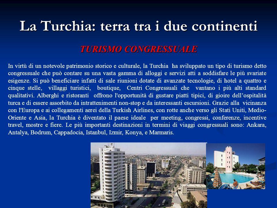 La Turchia: terra tra i due continenti TURISMO CONGRESSUALE In virtù di un notevole patrimonio storico e culturale, la Turchia ha sviluppato un tipo d