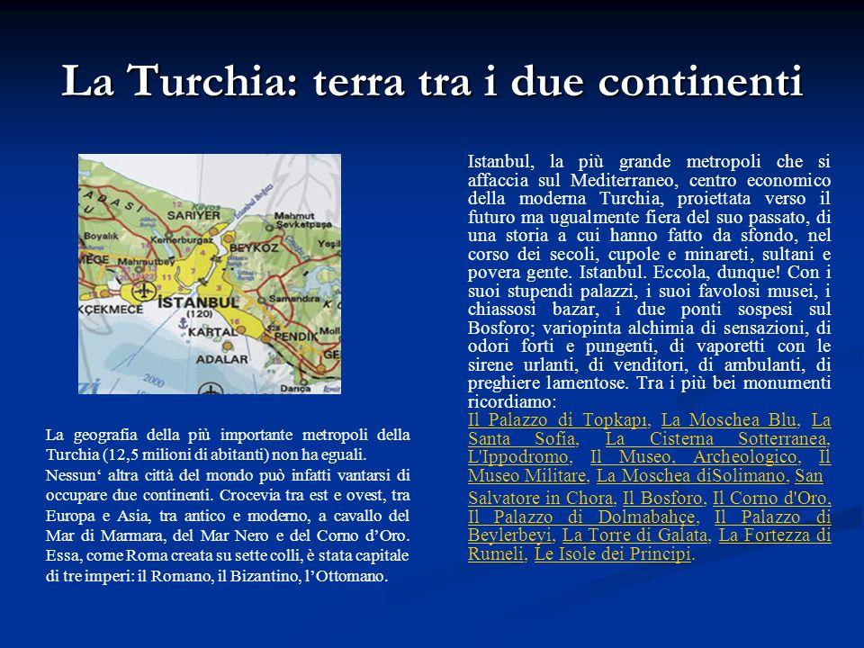 La Turchia: terra tra i due continenti Istanbul, la più grande metropoli che si affaccia sul Mediterraneo, centro economico della moderna Turchia, pro
