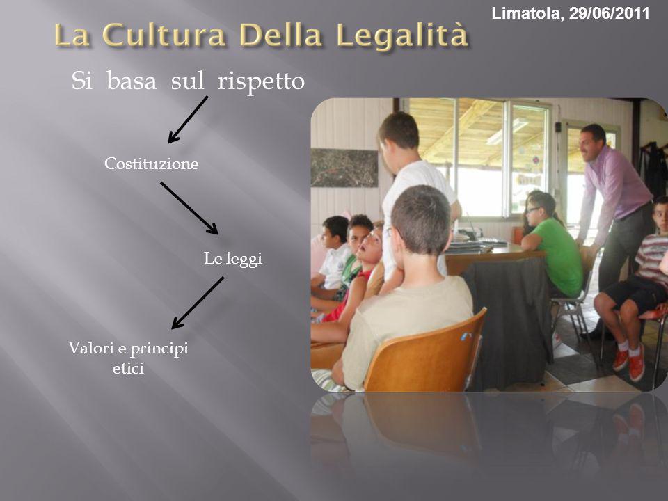 Si basa sul rispetto Costituzione Le leggi Valori e principi etici Limatola, 29/06/2011