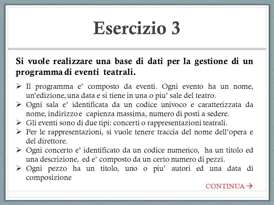 Esercizio 3 Si vuole realizzare una base di dati per la gestione di un programma di eventi teatrali. Il programma e composto da eventi. Ogni evento ha